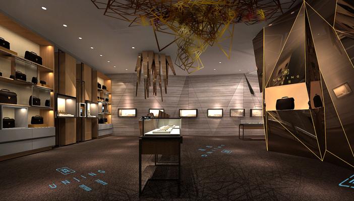 空间整体概念源自钻石切割的形体重构贯穿于整个空间.